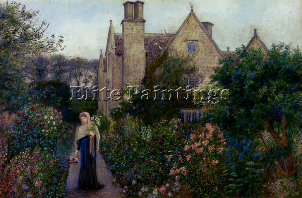 MARIA SPARTALI STILLMAN THE LONG WALK AT KELMSCOTT MANOR OXFORDSHIRE OIL CANVAS