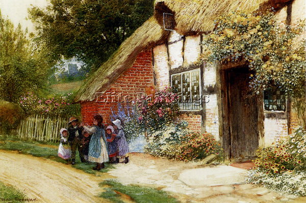 AUSTRIAN STRACHAN ARTHUR CLAUDE CHILDREN PLAYING OUTSIDE A COTTAGE REPRODUCTION