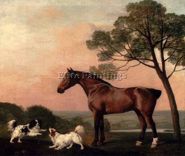 STUBBS GEORGE A BAY HUNTER WITH TWO SPANIELS ARTIST PAINTING HANDMADE OIL CANVAS
