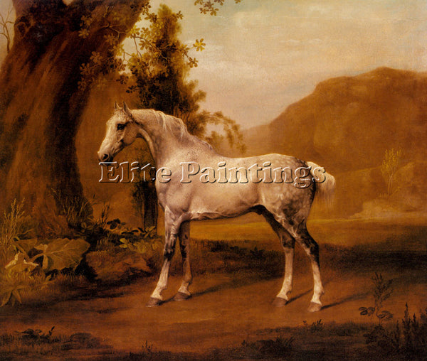 STUBBS GEORGE A GREY STALLION IN A LANDSCAPE ARTIST PAINTING HANDMADE OIL CANVAS