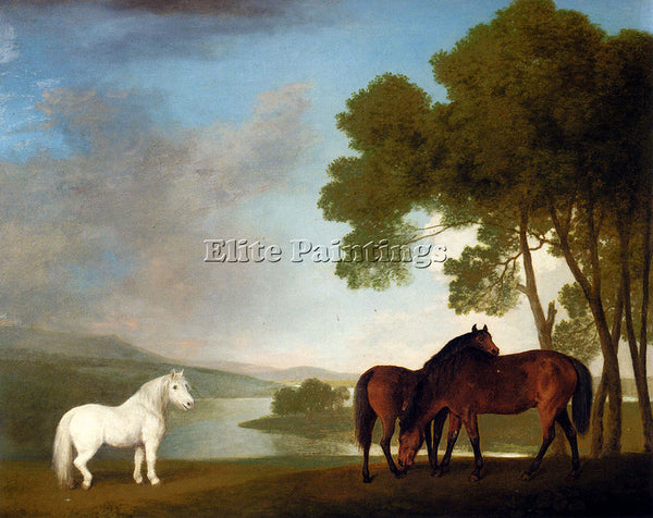 STUBBS GEORGE TWO BAY MARES AND A GREY PONY IN A LANDSCAPE ARTIST PAINTING REPRO