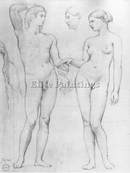 JEAN AUGUSTE DOMINIQUE INGRES STUDY FOR THE GOLDEN AGE ARTIST PAINTING HANDMADE