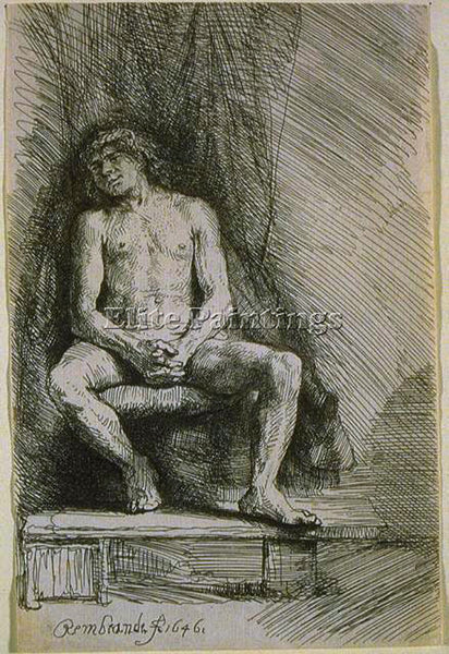 REMBRANDT STUDY FROM THE NUDE MAN SEATED BEFORE A CURTAIN SIL PAINTING HANDMADE
