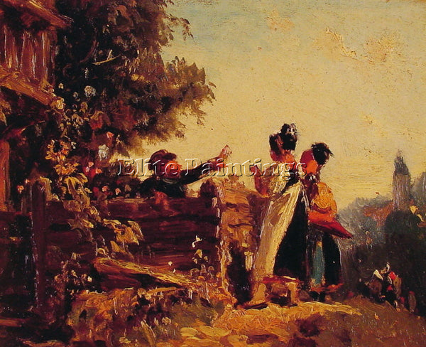 CARL SPITZWEG SWABIAN GIRLS AT A GARDEN FENCE ARTIST PAINTING REPRODUCTION OIL