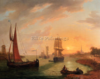 BELGIAN SWAGERS FRANS AN ESTUARY WITH VARIOUS SHIPPING AT SUNSET ARTIST PAINTING
