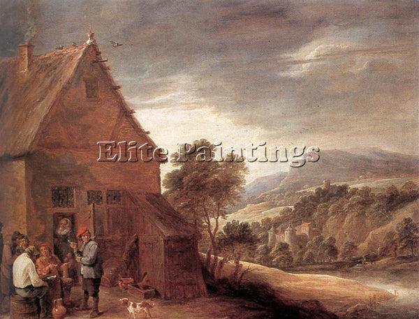 DAVID TENIERS THE YOUNGER BEFORE THE INN ARTIST PAINTING REPRODUCTION HANDMADE