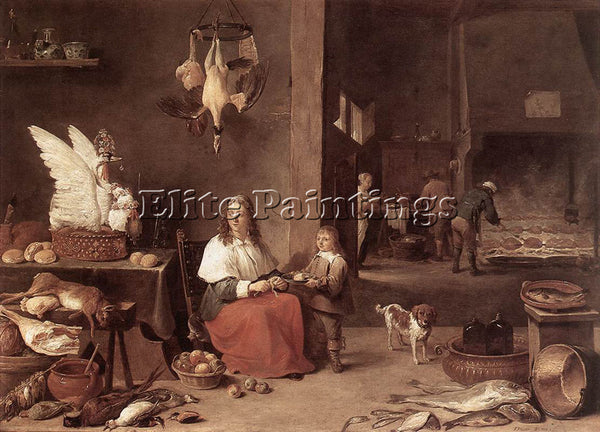 DAVID TENIERS THE YOUNGER KITCHEN SCENE 1644 ARTIST PAINTING HANDMADE OIL CANVAS