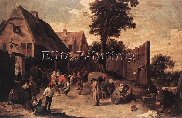 DAVID TENIERS THE YOUNGER PEASANTS DANCING OUTSIDE AN INN ARTIST PAINTING CANVAS