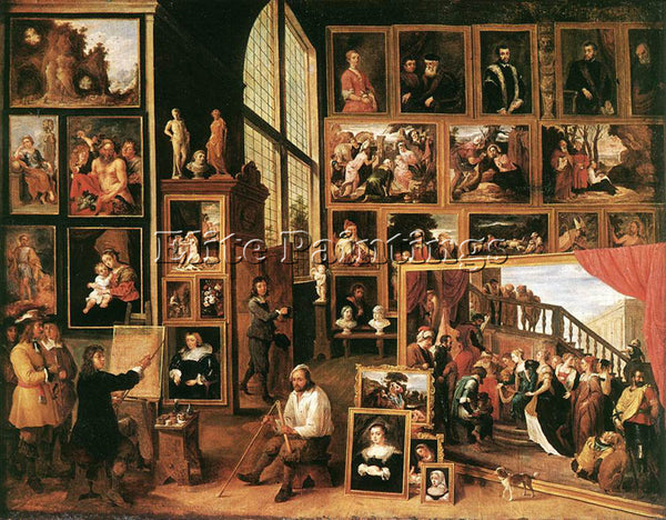 DAVID TENIERS THE YOUNGER THE GALLERY ARCHDUKE LEOPOLD IN BRUSSELS 1639 PAINTING