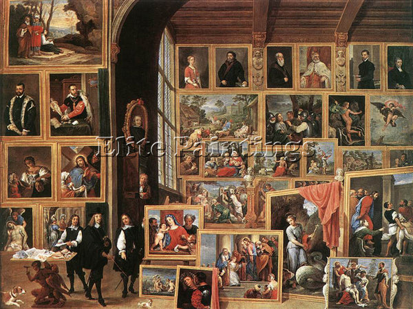 DAVID TENIERS THE YOUNGER THE GALLERY ARCHDUKE LEOPOLD IN BRUSSELS 1640 PAINTING