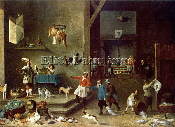 DAVID TENIERS THE YOUNGER THE KITCHEN ARTIST PAINTING REPRODUCTION HANDMADE OIL