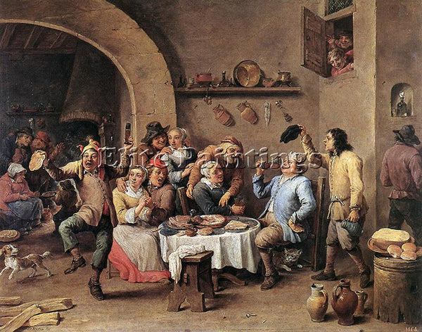 DAVID TENIERS THE YOUNGER TWELFTH NIGHT THE KING DRINKS ARTIST PAINTING HANDMADE