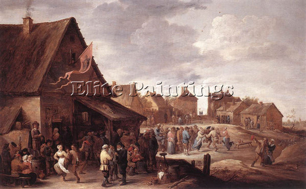 DAVID TENIERS THE YOUNGER VILLAGE FEAST ARTIST PAINTING REPRODUCTION HANDMADE