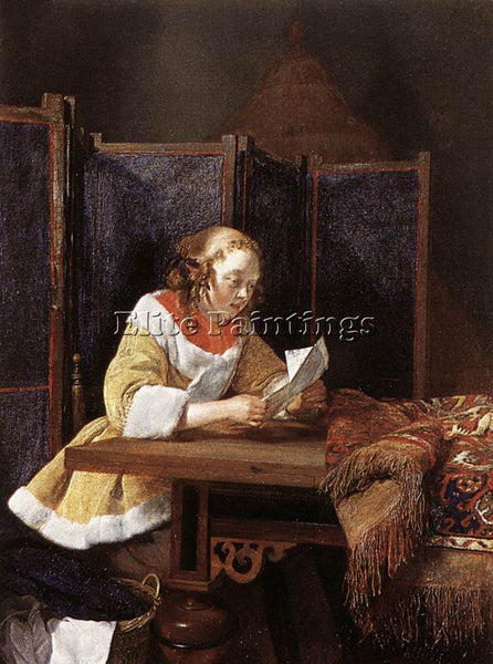GERARD TER BORCH A LADY READING A LETTER ARTIST PAINTING REPRODUCTION HANDMADE