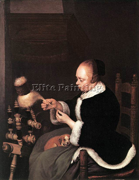 GERARD TER BORCH A WOMAN SPINNING ARTIST PAINTING REPRODUCTION HANDMADE OIL DECO