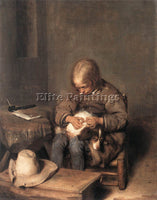 GERARD TER BORCH BOY RIDING HIS DOG OF FLEAS ARTIST PAINTING HANDMADE OIL CANVAS