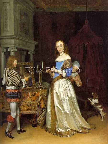 GERARD TER BORCH LADY AT HER TOILETTE ARTIST PAINTING REPRODUCTION HANDMADE OIL