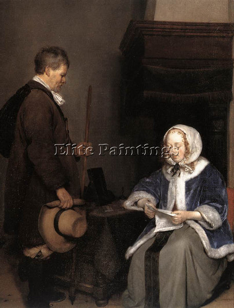 GERARD TER BORCH LADY READING A LETTER DETAIL ARTIST PAINTING REPRODUCTION OIL