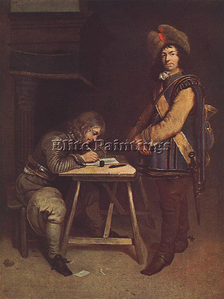 GERARD TER BORCH OFFICER WRITING A LETTER ARTIST PAINTING REPRODUCTION HANDMADE