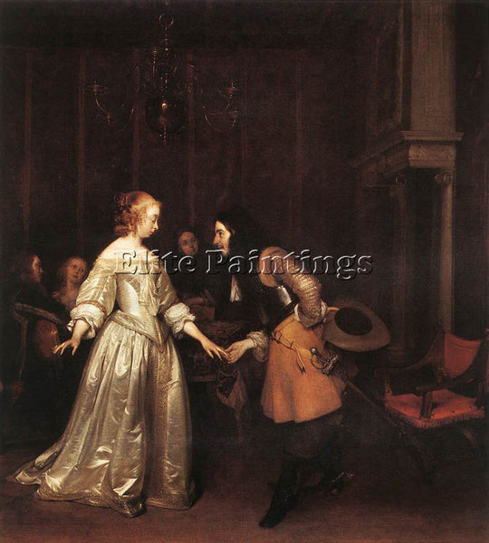 GERARD TER BORCH THE DANCING COUPLE ARTIST PAINTING REPRODUCTION HANDMADE OIL