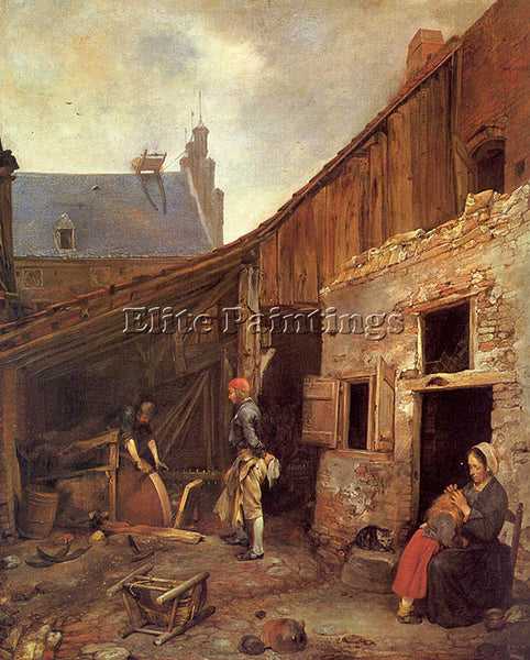 GERARD TER BORCH THE FAMILY OF THE STONE GRINDER ARTIST PAINTING HANDMADE CANVAS