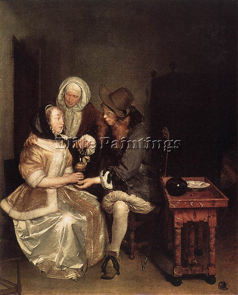 GERARD TER BORCH THE GLASS OF LEMONADE ARTIST PAINTING REPRODUCTION HANDMADE OIL