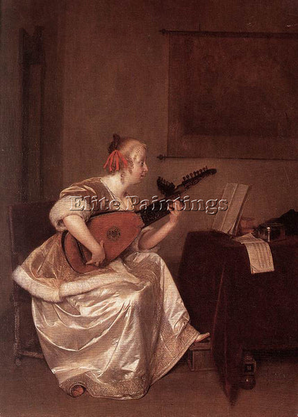 GERARD TER BORCH THE LUTE PLAYER 1667 ARTIST PAINTING REPRODUCTION HANDMADE OIL