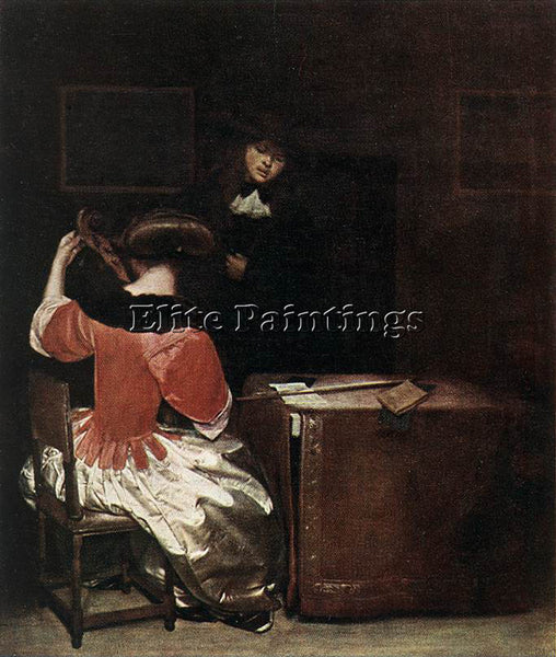 GERARD TER BORCH THE MUSIC LESSON ARTIST PAINTING REPRODUCTION HANDMADE OIL DECO