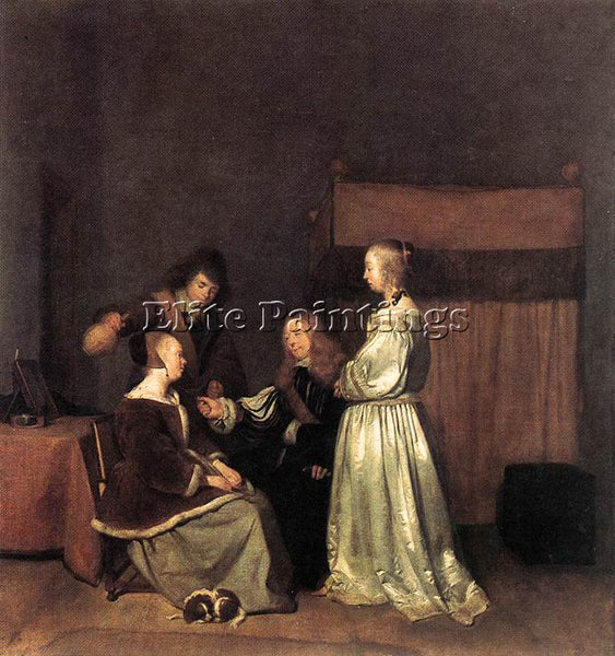 GERARD TER BORCH THE VISIT ARTIST PAINTING REPRODUCTION HANDMADE OIL CANVAS DECO