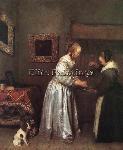 GERARD TER BORCH WOMAN WASHING HANDS ARTIST PAINTING REPRODUCTION HANDMADE OIL