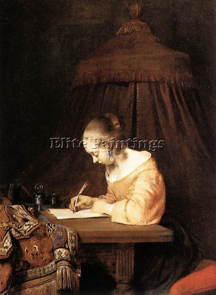GERARD TER BORCH WOMAN WRITING A LETTER ARTIST PAINTING REPRODUCTION HANDMADE