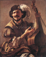 HENDRICK TERBRUGGHEN A LAUGHING BRAVO WITH A BASS VIOL AND A GLASS REPRODUCTION