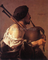 HENDRICK TERBRUGGHEN BAGPIPE PLAYER ARTIST PAINTING REPRODUCTION HANDMADE OIL