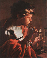 HENDRICK TERBRUGGHEN BOY LIGHTING A PIPE ARTIST PAINTING REPRODUCTION HANDMADE