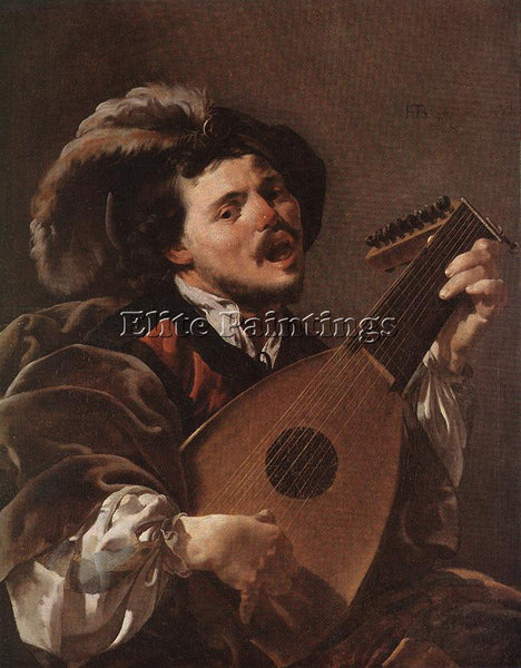 HENDRICK TERBRUGGHEN LUTE PLAYER ARTIST PAINTING REPRODUCTION HANDMADE OIL REPRO