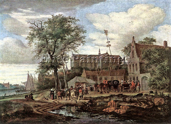 SALOMON VAN RUYSDAEL TAVERN WITH MAY TREE ARTIST PAINTING REPRODUCTION HANDMADE
