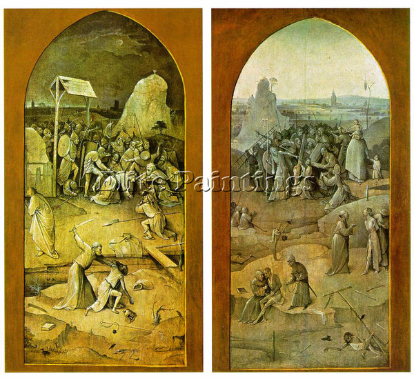 HIERONYMUS BOSCH TEMPTATION OF ST ANTHONY OUTER WINGS OF THE TRIPTYCH ARTIST OIL