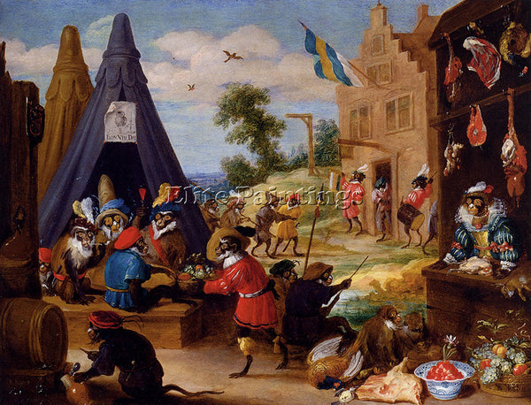 DAVID TENIERS THE YOUNGER A FESTIVAL OF MONKEYS ARTIST PAINTING REPRODUCTION OIL