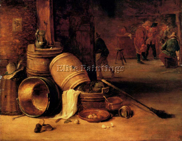 DAVID TENIERS INTERIOR SCENE WITH POTS BARRELS BASKETS ONIONS CABBAGES PAINTING