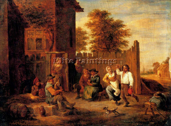 DAVID TENIERS THE YOUNGER PEASANTS MERRYMAKING OUTSIDE AN INN PAINTING HANDMADE
