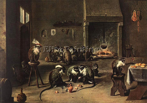 DAVID TENIERS THE YOUNGER TENNIERS YOUNGER DAVID APES IN KITCHEN ARTIST PAINTING