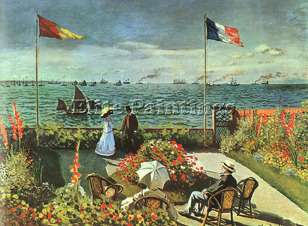 CLAUDE MONET TERRACE AT ST ADRESSE ARTIST PAINTING REPRODUCTION HANDMADE OIL ART