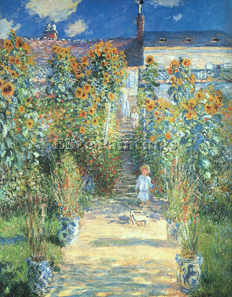 CLAUDE MONET THE ARTISTS GARDEN AT VETHEUIL ARTIST PAINTING HANDMADE OIL CANVAS