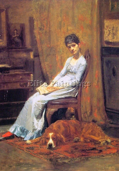 THOMAS EAKINS THE ARTISTS WIFE AND HIS SETTER DOG ARTIST PAINTING REPRODUCTION
