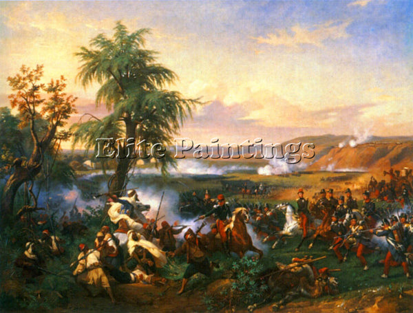 HORACE VERNET THE BATTLE OF HARBA ARTIST PAINTING REPRODUCTION HANDMADE OIL DECO