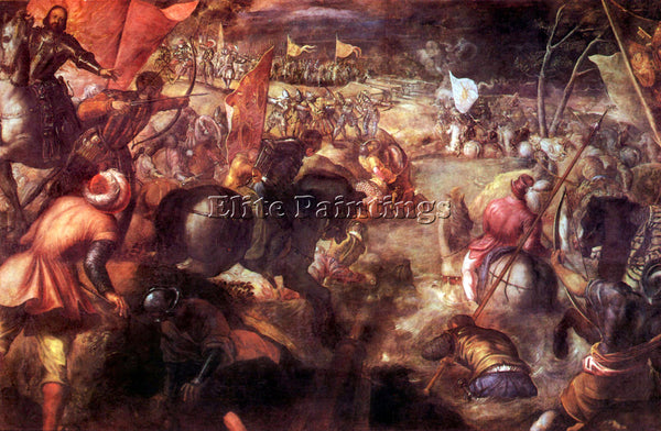 TINTORETTO THE BATTLE OF TARO ARTIST PAINTING REPRODUCTION HANDMADE CANVAS REPRO