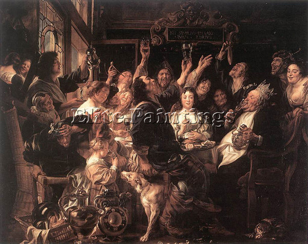 JACOB JORDAENS THE BEAN KING ARTIST PAINTING REPRODUCTION HANDMADE CANVAS REPRO