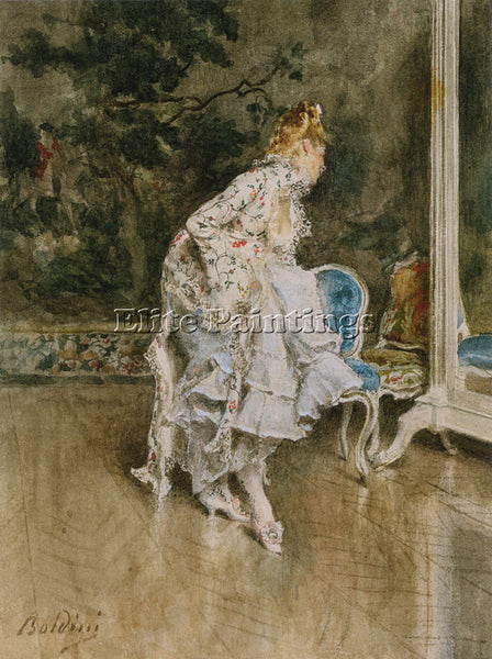 GIOVANNI BOLDINI THE BEAUTY BEFORE THE MIRROR ARTIST PAINTING REPRODUCTION OIL