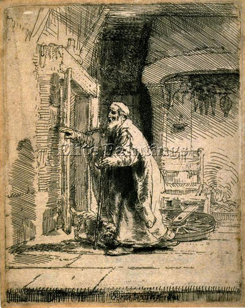 REMBRANDT THE BLINDNESS OF TOBIT SIL ARTIST PAINTING REPRODUCTION HANDMADE OIL