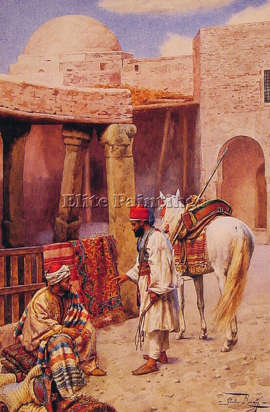 GIULIO ROSATI THE CARPET SELLER ARTIST PAINTING REPRODUCTION HANDMADE OIL CANVAS